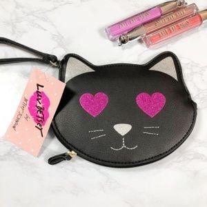 NWT Betsey Johnson Heart Eyed Black Cat Wristlet